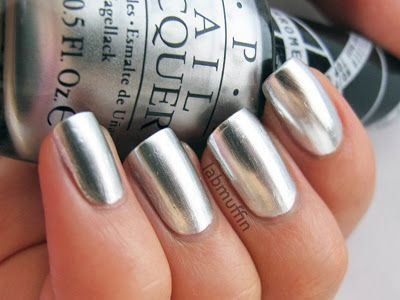 OPI Gwen Stefani Push and Shove swatch and review - Lab Muffin. Chrome nails!