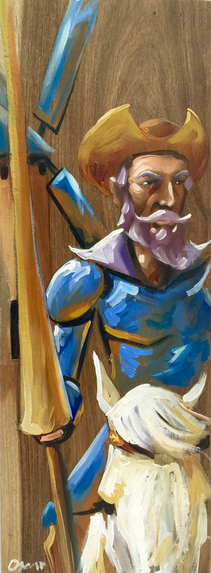 Don Quijote sobre madera