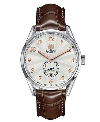TAG Heuer Watch, Men's Swiss Automatic Carrera Calibre 6 Brown Alligator Leather Strap 39mm WAS2112.FC6181 - All Watches - Jewelry & Watches - Macy's - online mens watches shopping, mens watches, best mens designer watches