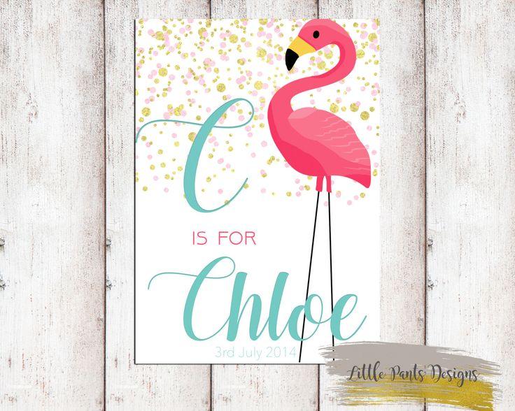 Flamingo Personalised Name Sign Poster Gold Glitter Aqua Pink Birth Poster Announcement Card Little Girl  Whimsical Custom Invite Tropical by LittlePantsDesigns on Etsy https://www.etsy.com/listing/463032777/flamingo-personalised-name-sign-poster