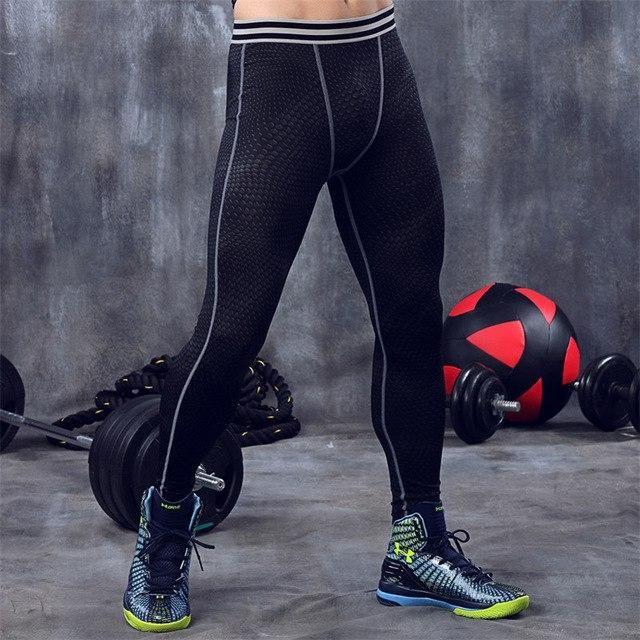 Compression Tights Men Long Pants Fitness Joggers Workout Leggings Mens Active Wear Joggings Sweatpants Elastic Waist black XL
