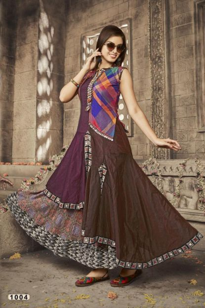 b4b6dc00dd3477 Brown Cotton Printed Sleeveless Floor Length Anarkali Style Kurti Catalog  No   7002 Website   https