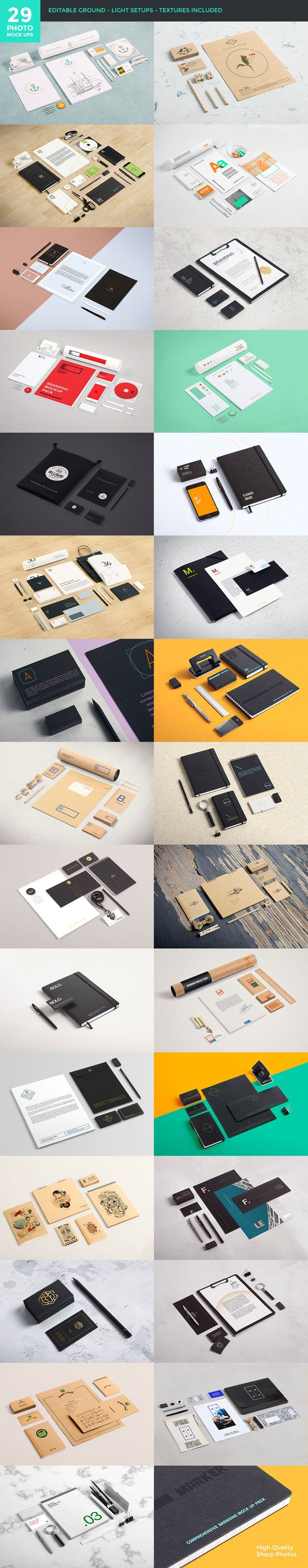 The 29 photo mockups with editable backgrounds, light setups, and included textures.