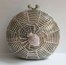Butler and Wilson Clear AB Swarovski Crystal Spider Web Clutch Bag & Chain NEW