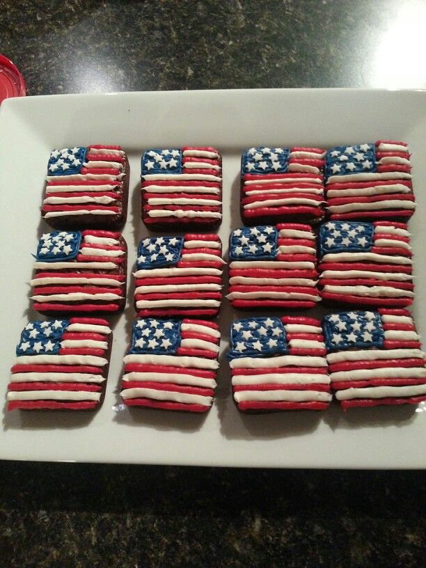 Patriotic Flag Brownies using the Brownie Pan!