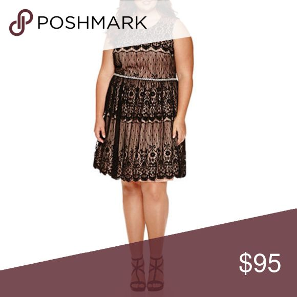 City Triangles Black Lace Bling Belt Formal Dress City Triangles Black Lace Bling Belt Formal Dress. New with tags available in two sizes,  13 and 9 in juniors. Perfect for homecoming, prom, a wedding, or any other special occasion. This features black lace over a creamy apricot lining and crinaline hem for extra volume. Pearls and Rhinestones around the empire waist shows off your feminine side in all the right ways. City Triangles Dresses Midi