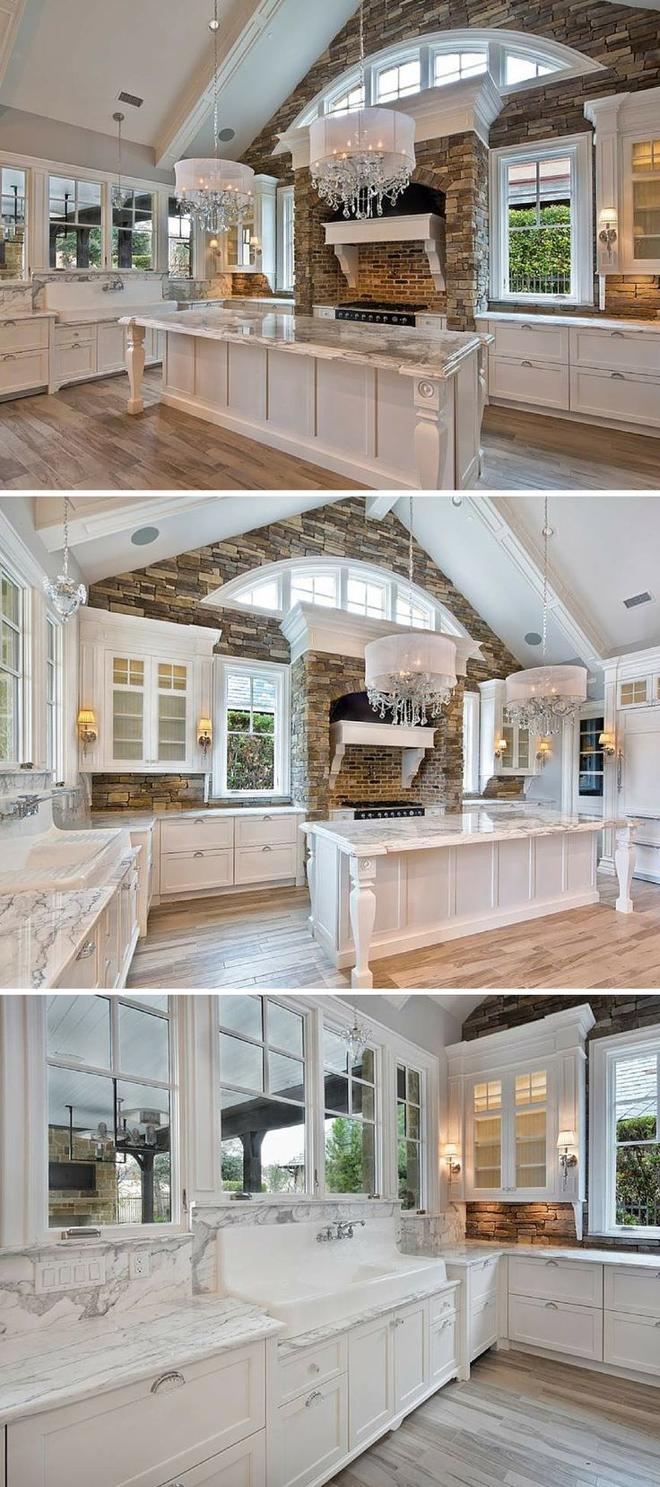 Wood-Mode kitchen with white cabinets and marble countertops…