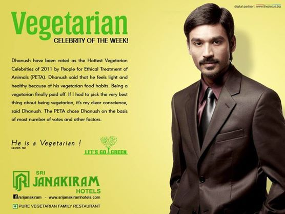 How many of you know that Actor Dhanush is a Vegeterian??!!  #letsgogreen #srijanakiramhotels #celebrity #vegetarian