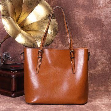 Hot-sale designer Women Retro Genuine Leather Oil Wax Bucket Handbag Large Capacity Crossbody Bag Online - NewChic Mobile