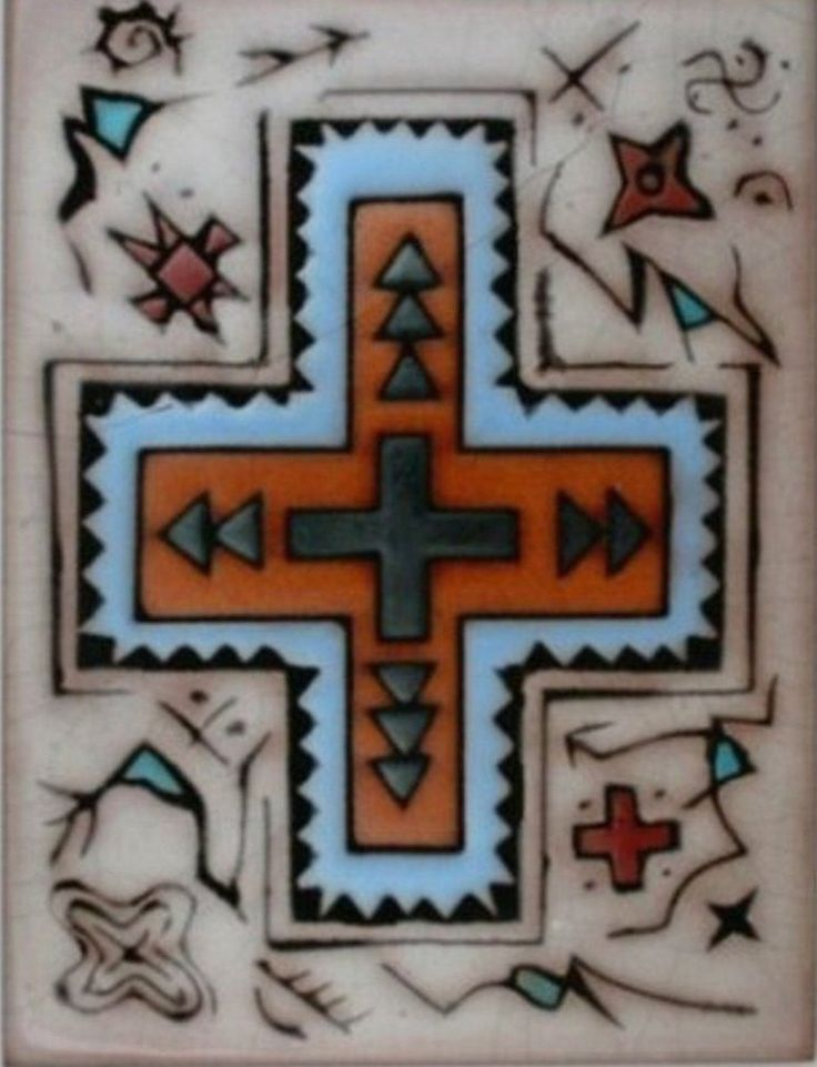 """Cross Design Tile Choose 1 of the following ; Red tones or Beige Tones Indigenous Designs complete this Southwest Inspired Tile 6"""" x 8"""" Accent your office or home Classic Western and Southwestern Desi"""