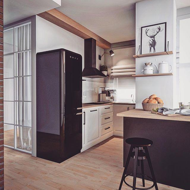 Mala Kuchnia Z Czarna Lodowka Smega Lovingit Pl New Kitchen Home Decor Home
