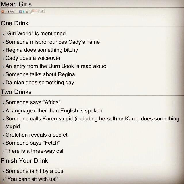 Mean girls drinking game. Haha