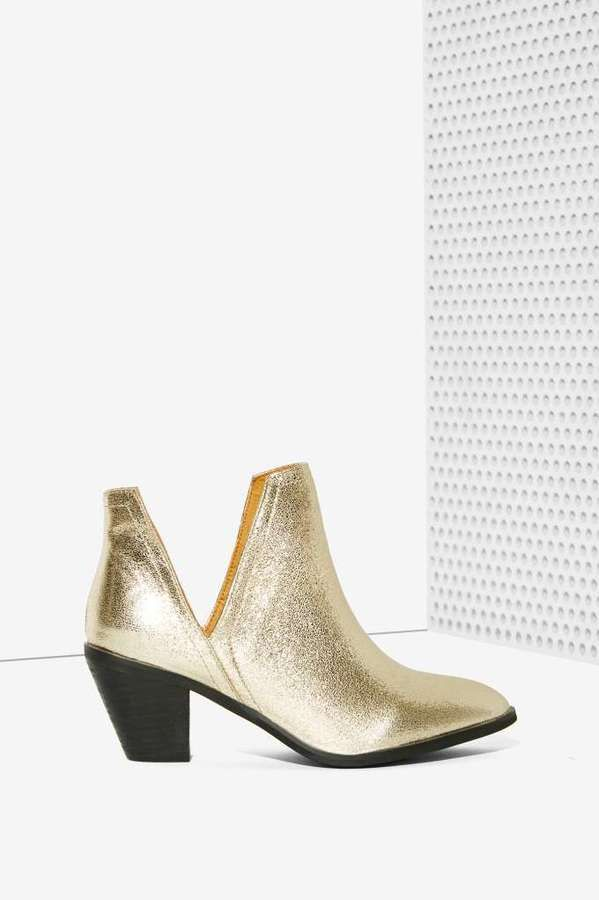 Factory If the Shoe Slits Glitter Ankle Boot - Gold