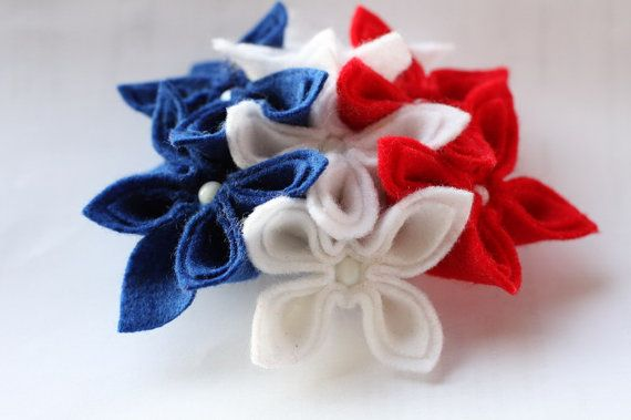 Americana Flower Brooch by GoodFloristDesign on Etsy, $35.00