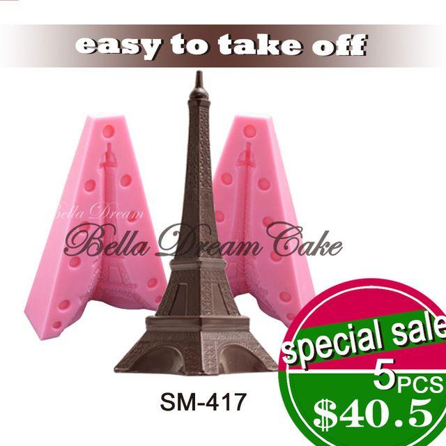 2 UNIDS Populares Torre Eiffel Jabón 3D Molde de Pastel de Silicona Moldes de Pastel Fondant Moldes Para Velas para Decorar Tortas Moldes SM-417