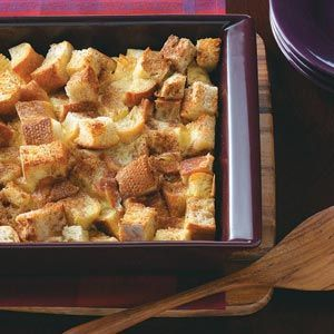 French Toast Casserole Recipe -Cinnamon and sugar top this fuss-free fare that tastes like French toast. Since you assemble it the previous night, you save time in the morning. —Sharyn Adams, Crawfordsville, Indiana
