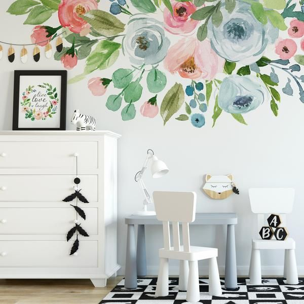 Home Decor Industrial .Home Decor Industrial Wall Painting Flowers, Room Wall Painting, Watercolor Flowers, Painted Flowers On Wall, Baby Room Paintings, Wall Flowers, Flower Wall Decals, Nursery Wall Decals, Nursery Decor