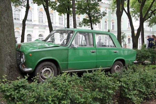 "Francis Alÿs, Lada ""Kopeika"" Project, 2014  In collaboration with brother Frédéric, Constantin Felker, and Julien Devaux  Commissioned by MANIFESTA 10, St. Petersburg  With the support of the Flemish authorities"