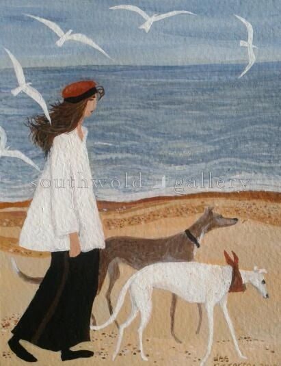 Dee Nickerson – Girl and two greyhounds)