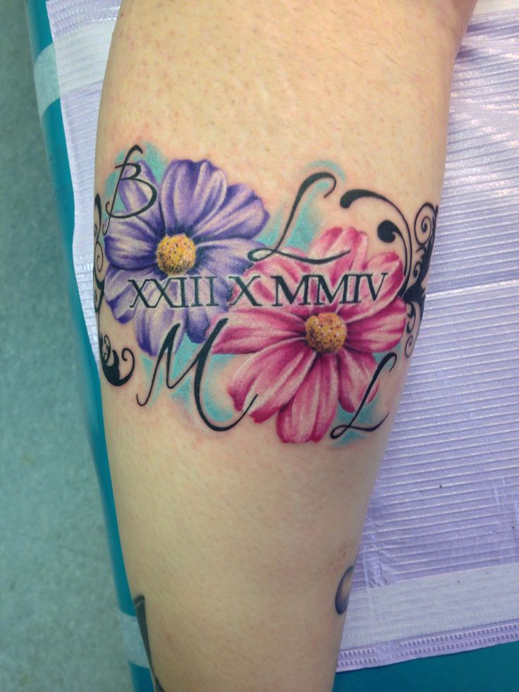 #22 cosmos flowers for October  My sweet step daughters birthday in Roman numerals and her initials done by Rachel at forever art 2 in Geneseo ny