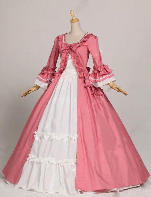 Vestido, rosado gótico renacentista Victorian algodón vestido de estilo victoriano Marie antonieta