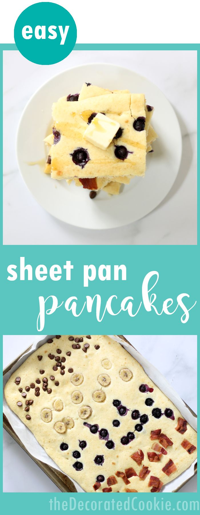 EASY sheet pan pancakes -- bake your pancakes all at once! The best, easy breakfast idea for a crowd, for holiday breakfasts, or freeze for weekday breakfast ideas. Mix and match toppings.