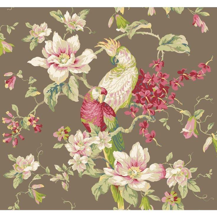 York Wallcoverings Blooms YV9031 Tropical Birds W/Magnolias Wallpaper, Brown - - Amazon.com
