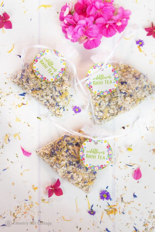 Wildflower Bath Tea Recipe (With Free Printable Labels for Gift Giving)