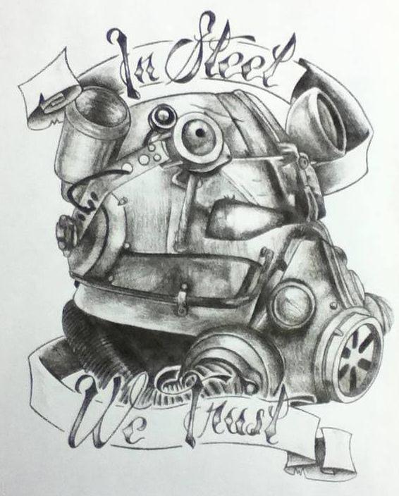 In Steel we Trust, Brotherhood of Steel.  Fallout Tattoo design