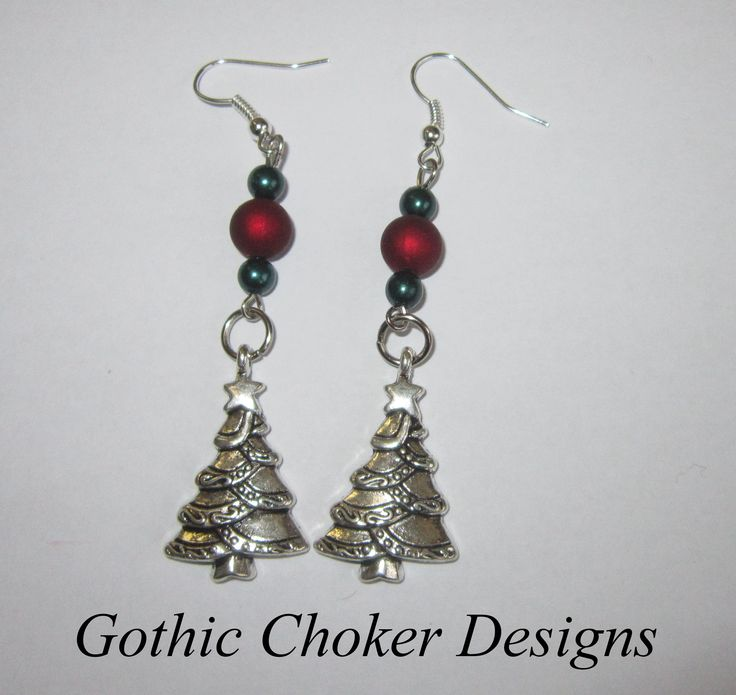 Red and green Christmas tree earrings. R60 approx $6.  Purchase here: https://hellopretty.co.za/gothic-choker-designs/red-and-green-christmas-tree-earrings