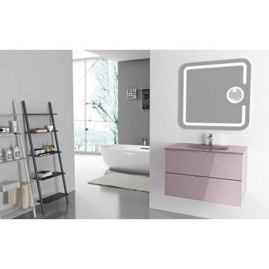 Washbasin base unit with 2 drawers, in Glicine High Gloss  Finish and  Glass Top in Glicine color, with mounted washbasin
