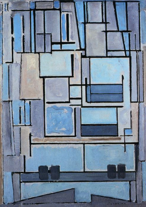 """Compositie 9, blauwe façade"" (1914; ""composition 9, blue façade), by Piet Mondriaan. Oil on canvas; Foundation Beyeler, Basel, Switzerland. Shape and colour reduced to its abstract essence."
