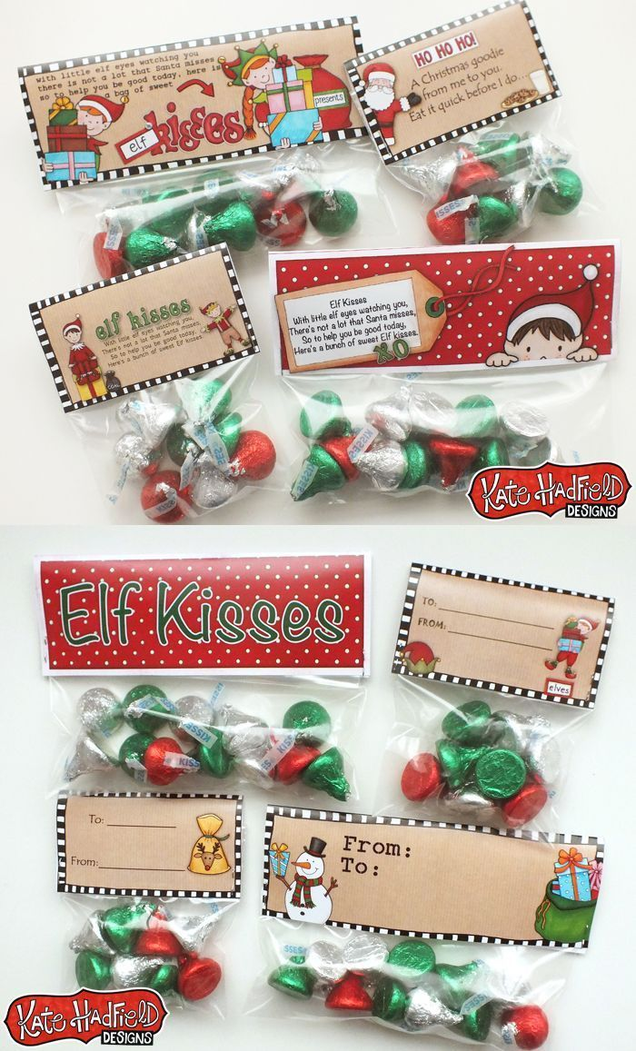 Elf Kisses FREE printable bag toppers by Kate Hadfield - perfect for easy Christmas favours and stocking fillers! #katehadfielddesigns