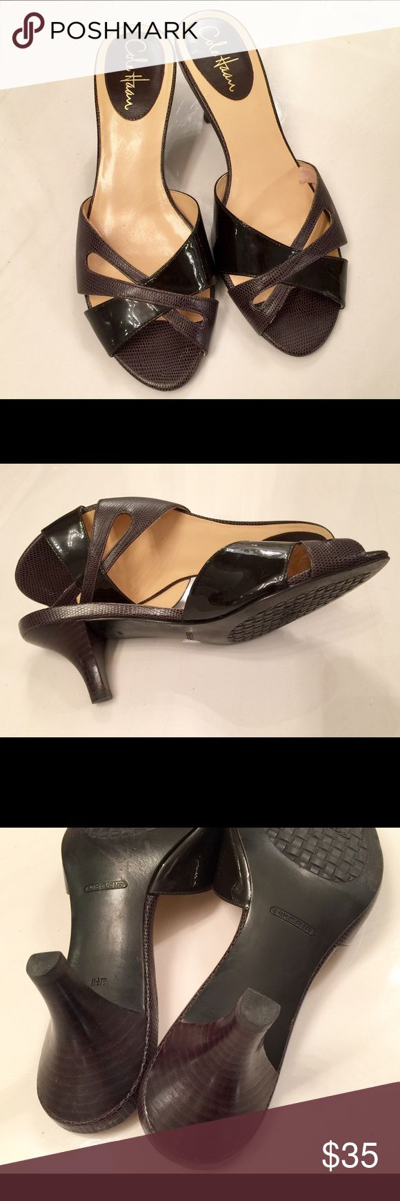 AUTHENTIC Cole Haan ladies sandals; women's shoes Cole Haan women's sandals; ladies shoes; footwear. Color: brown and cream. Made with Nike Air cushioning for comfort. Height: 2.5inches. Size: 8.5B. AUTHENTIC and EUC. Cole Haan Shoes Sandals