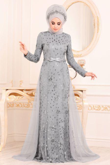 Tesetturlu Abiye Elbiseler Tesetturlu Abiye Elbise Tul Detayli Gri Tesettur Abiye Elbise 20872gr Elbise Modelleri Elbise The Dress