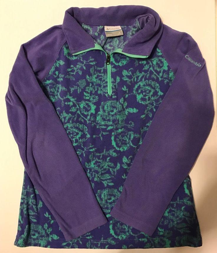 Columbia Sportswear MEDIUM 10-12 GIRLS Fleece 1/4 Zip PRINTED Pullover Purple  | eBay