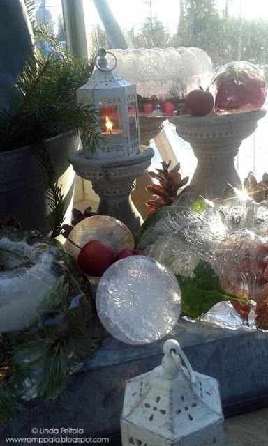 Scandinavian DIY Ice lanterns, luminaries, ice crystal balls Romppala - Lindan pihalla