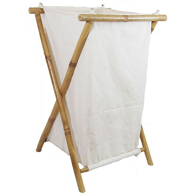 Bamboo and Canvas Hamper (Vietnam) (bamboo canvas hamper), White (Wood)
