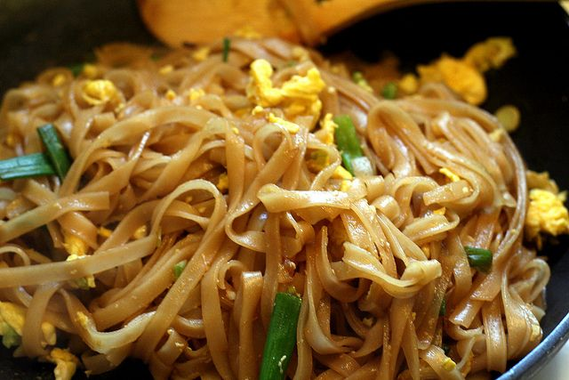 Very easy pad thai, no weird ingredients or hot peppers. Blogger lived in Thailand and said it's closer to authentic than take out. (Double the sauce per the comments)