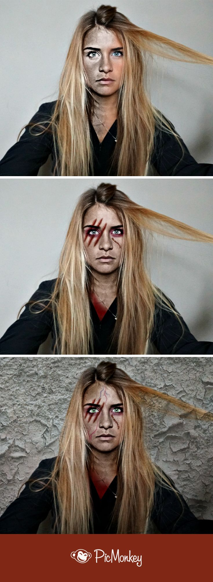 Get that dull, lifeless look and Zombify yourself with PicMonkey. You'll find gashes, slashes, evil eyes, bruises, and deadend skin. Perfect for zombifying.