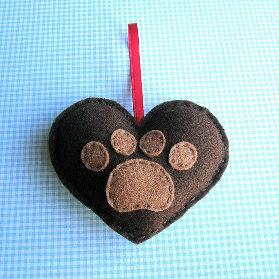 Puppy Love Paw Print Love Heart chocolate brown by ilovehearts