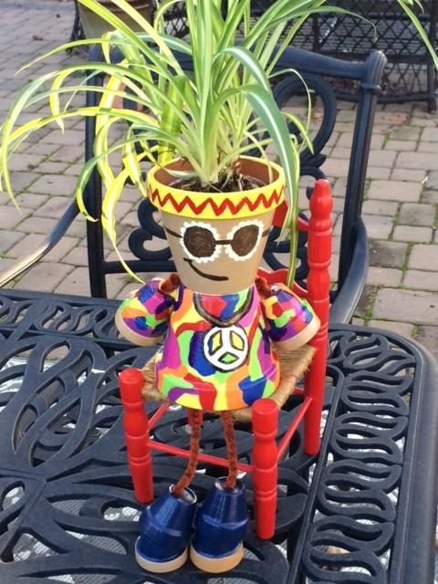 Hippie Pot Person/Custom-made Pot People/Garden Decor/Outdoor Decoration/Unique Gift/Hand Painted/Terra Cotta Pot/Planter/Made-to-order