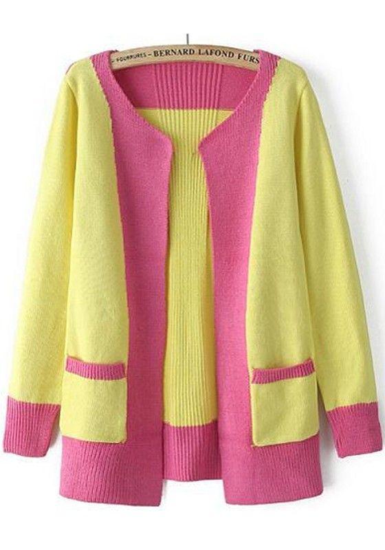 Yellow Patchwork Pockets Cardigan