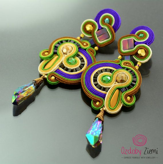 Clip on Long Gold Violet Soutache Earrings - Long Rainbow Earrings The Weeping Woman - Clip on Unique Oriental Earrings - Orecchini Soutache ***** FAST SHIPPING - order is delivered to you by COURIER SHIPMENT ***** (phone number required)! These earrings, thanks to colours and style,