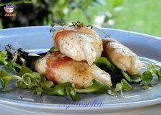 Filetti di rana pescatrice avvolti in pancetta, semplice e saporito secondo piatto.