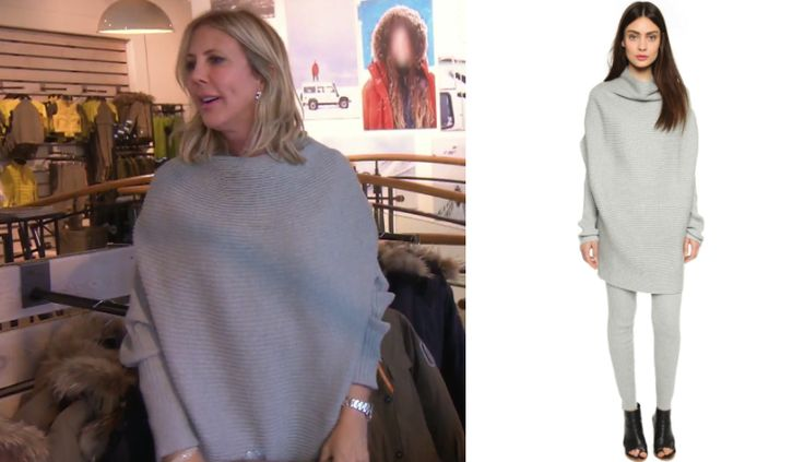 Just ribbing ya! Get details on Vicki Gunvalson's Grey Ribbed Sweater Dress here: https://www.bigblondehair.com/vicki-gunvalsons-grey-ribbed-sweater-dress/ #RHOC