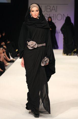 Arabic grey and black abaya