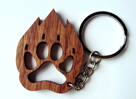 Wooden Animal Footprint Keychain Walnut Wood Animal by PongiWorks