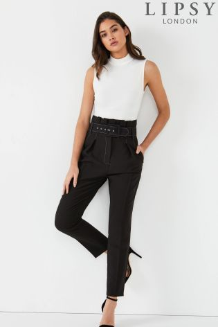 040b0598d13 Lipsy Contrast Stitch Belted Trousers