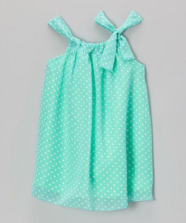 Another great find on #zulily! Mint Polka Dot Sydney Dress - Toddler & Girls by Blueberry Twirl #zulilyfinds